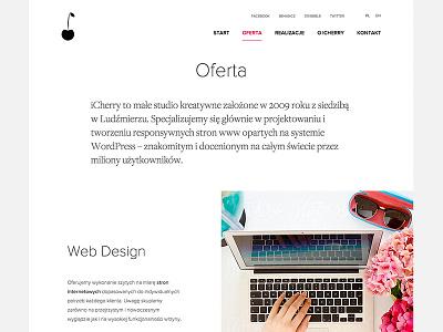 Offer Us Page - ICHERRY (WIP) design ui intro simple typo icherry nav minimal web section offer logo