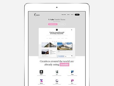 Rosea Tumblr Themes landing page pink ipad minimal tumblr simple design web ui