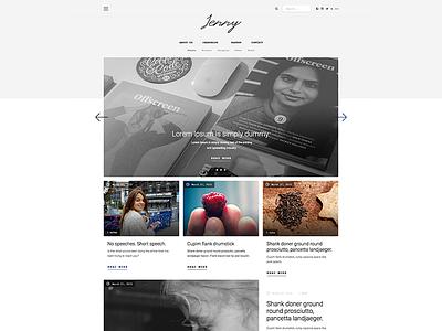 Jenny - Tumblr Theme (   W  I   P   ) tumblr theme nav post design slider blog grid minimal web ui theme tumblr