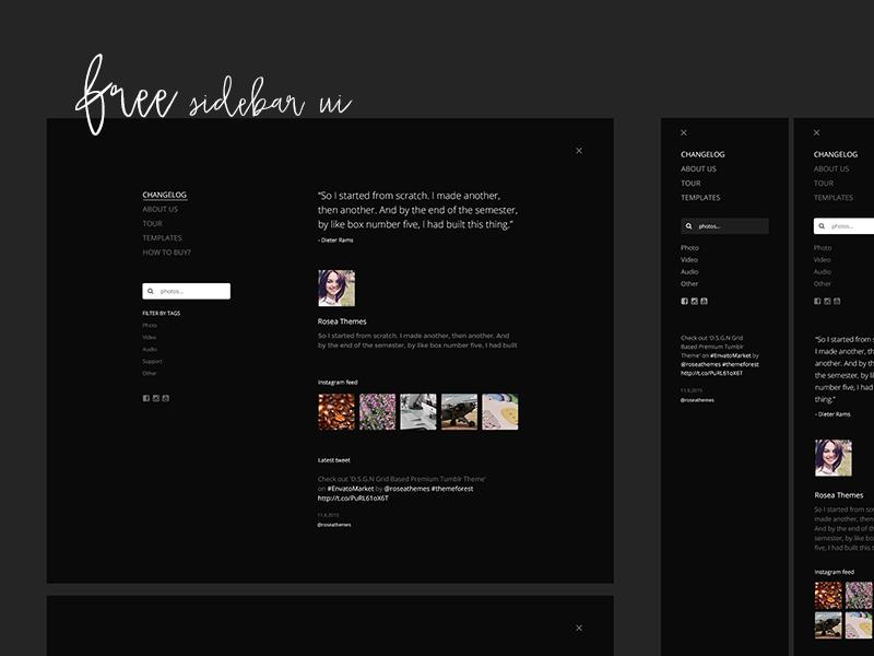 Free SIDEBAR UI - PSD design web twitter instagram minimal clean menu nav sidebar freebies free psd