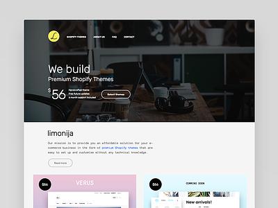 limonija | Premium Shopify Themes home page projects header minimal ui themeforest shopify webdesign landing design web
