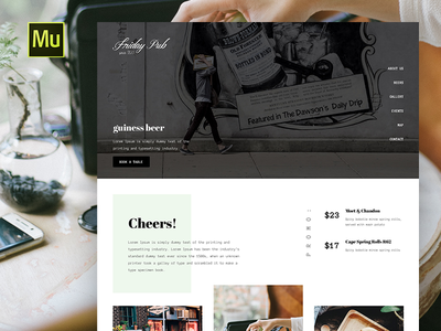 Muse Templates for Pub, Restaurant or Cafe brewery templates design web ui adobe restaurants pub theme template muse