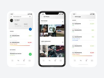 car services app concept navigation iphone gallery invoices management car minimal app