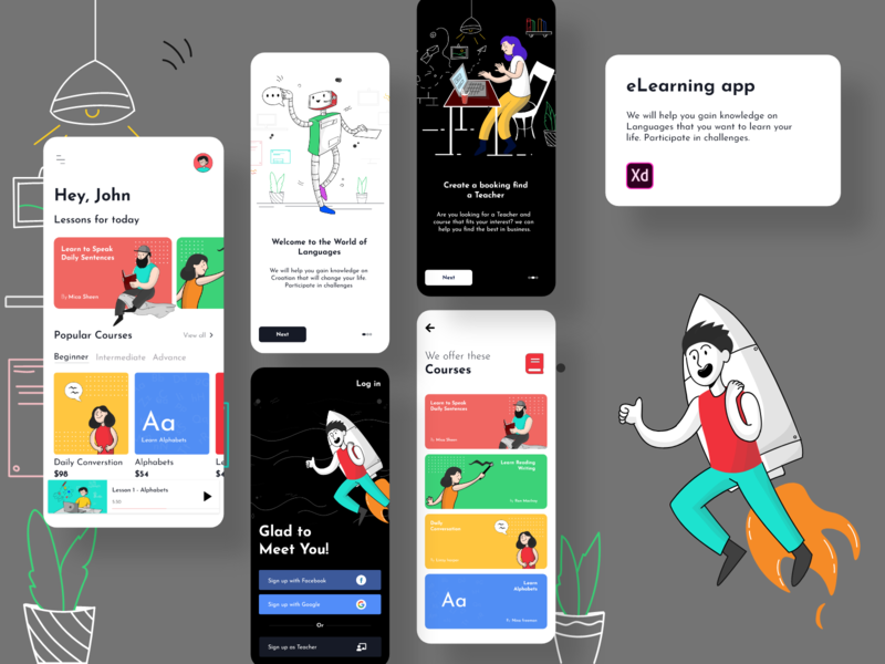 eLearning App | Language Learning lms elearning courses courses elearning uxdesign uidesign android app design vector ui uxui illustration app design ux designs