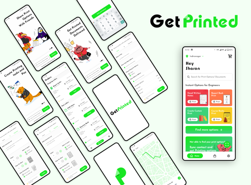 Get Printed - Hyper Local Startup design branding uidesign logo uxui ux ui android app design hyperlocal vector designs