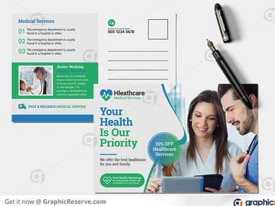 Health medical center postcard