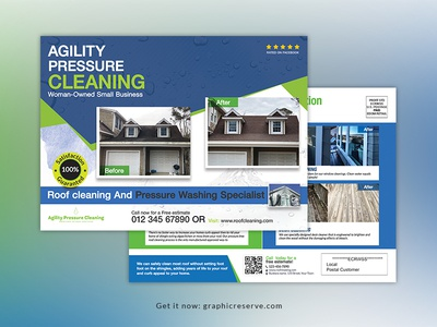 Roof cleaning service EDDM postcard templates