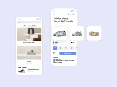 Application for an online shoe store