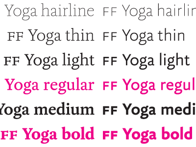 FF Yoga New weights font typeface yoga xavier dupre hairline thin light sans serif type system