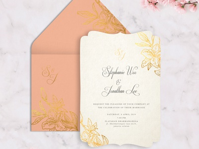 Gold Floral with peach envelope minimalist wedding invitation