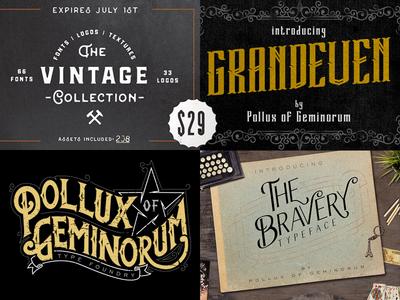 The Vintage Collection - Only $29 polluxofgeminorum pixelsurplus bundle typography typeface font poster vintage