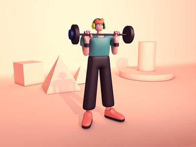 Fitness boy character c4d illustration