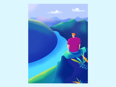 on top of a hill vector illustration