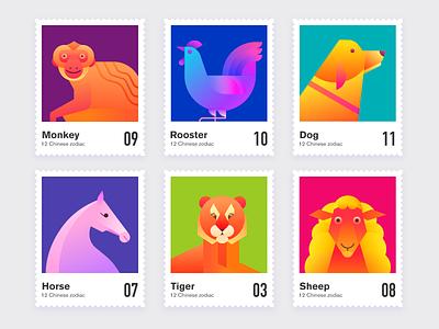 12 Chinese zodiac illustration gradient alpha abstract design branding vector flat illustration