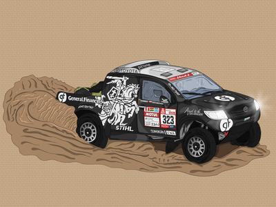 Benediktas Vanagas Dakar Car racecar race cartoon illustration cartoon adobe illustrator car dakar vector logo design illustration