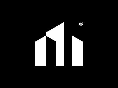 M simple lettermark monogram modern minimalism logotype logogram logo design logo