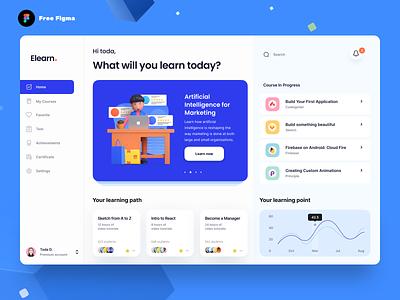 Elearn Dashboard (Figma Source) teaching web app web design uxdesign uidesign course online product design uiux dashboad ui