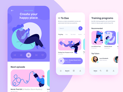 Personal Growth Application conceptual design product design mobile online course program training ilabs audio illustration course online character app ui
