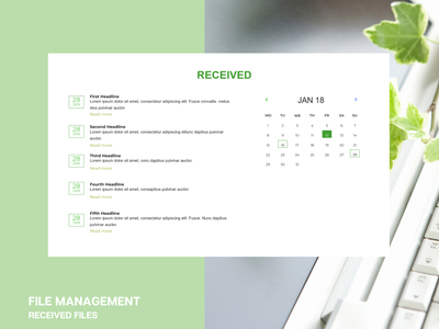 Received Files Display with date icon web ux ui creative design illustration design
