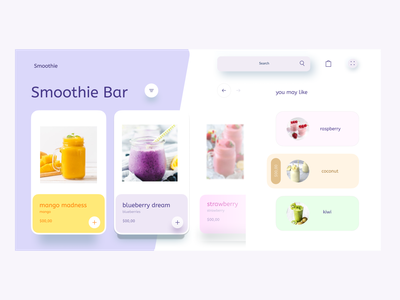 web Design for Smoothie bar branding web typography colorful creative design illustration design