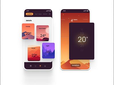 weather app design ui app colorful creative design illustration design