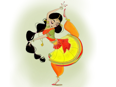 Traditional Kathak Dancer digital illustration digital painting digital colorful creative design illustration design