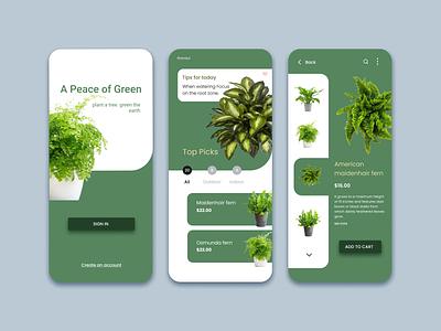 Indoor Plant App Design (Redesign) ui app colorful creative design illustration design