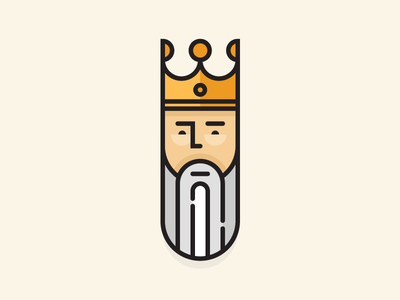 Lill' King king illustration lines crown beard clean friendly gold