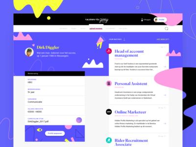 Profile Page website webdesign vvg vacancy ux resume ui profile offer job illustration