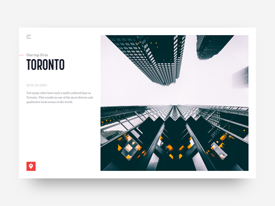 MunchMaps - City Page landing page photography clean toronto city top 3 ux ui