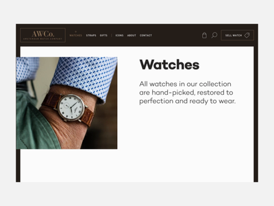 AWCO - Website redesign shop details webshop interactions rolex watches branding clean animation ux website ui