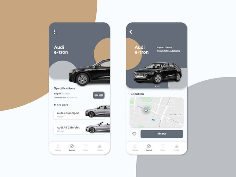 Rent-a-car interface xd illustrator app ux ui design