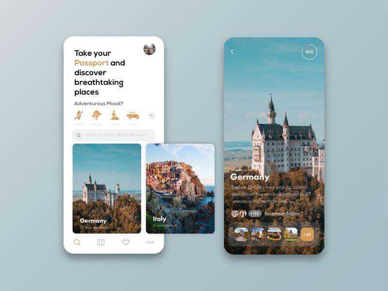 Breathtaking places travel design app adobeillustator adobexd design ui ux