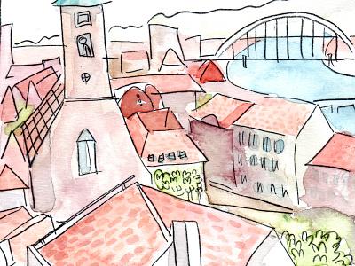 Bratislava landscape illustration watercolour illustration