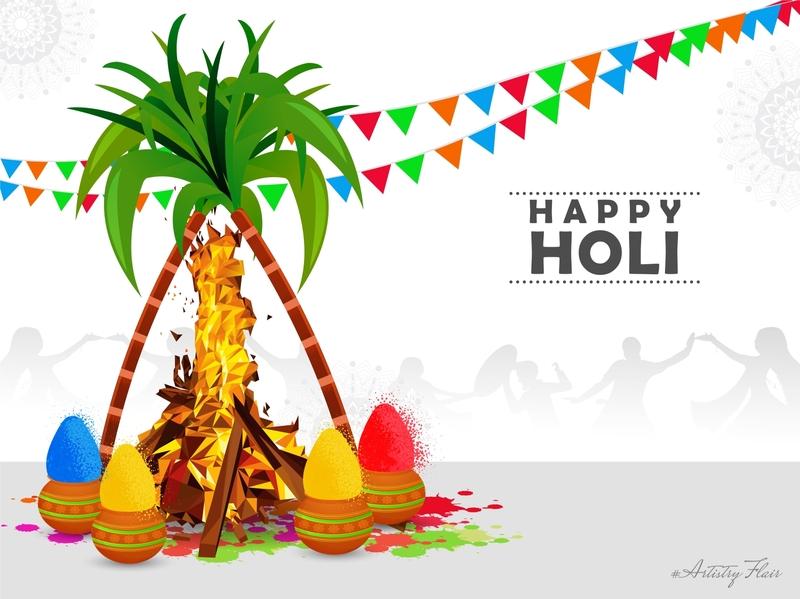 Happy holika dahan religion cultural traditional holika dahan abstract sketch artistryflair handrawn celebration colorful vector dribble happy design illustration