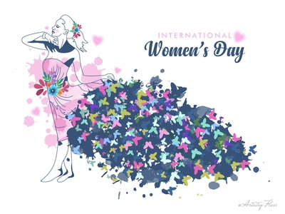 Women's Day butterfly dress floral style fashion celebration day woman 8 march handrawn colorful character sketch abstract dribble happy vector illustration design
