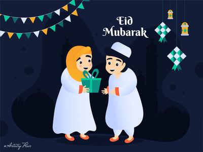 Eid Mubarak fasting decoration mosque lanterns ketupat concept creative artistry flair mubarak eid celebration handrawn colorful character abstract dribble happy vector illustration design