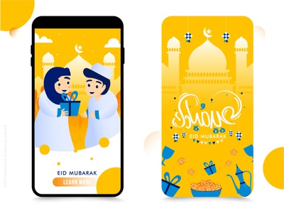 Mobile UI mosque party iftar gifts decoration back cover uiux ui mobile eid mubarak eid celebration handrawn colorful character abstract dribble happy illustration design