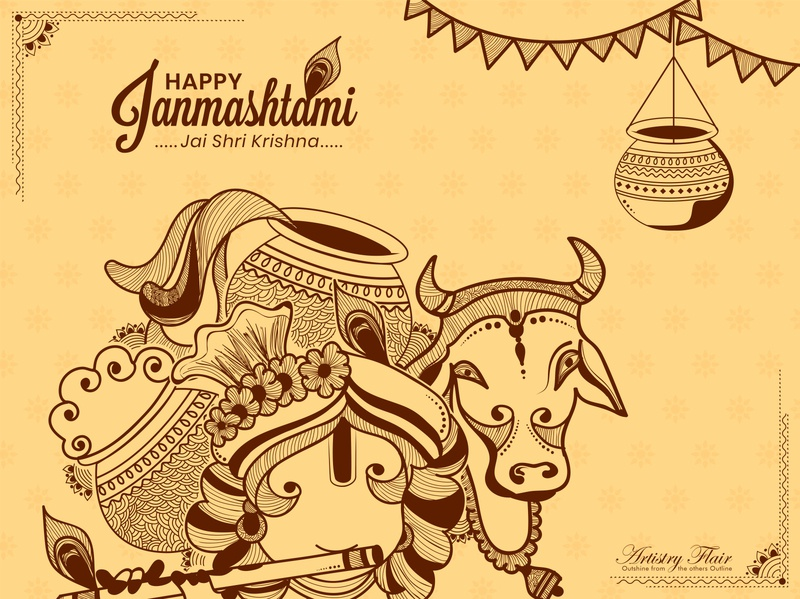 Krishna Janmashtami lord krishna culture religious tradtional feather sketching lineart dahi handi krishna janmashtami august artistryflair handrawn sketch celebration abstract happy vector design illustration