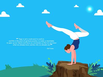 Yoga Day girl garden leaves morning sun cloud pose character type minimal flat animation vector design illustration
