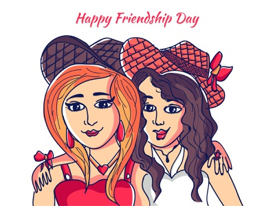 Friendship day beautiful cap eyes colorful sweet gorgeous smarty girls faces happy frienship friend dribble character vector illustration design