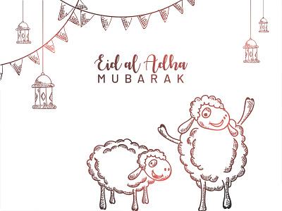 Eid Al Adha sheep hanging lamp drawing art skecthing sketch bakrid eid al adha dribble character vector illustration design