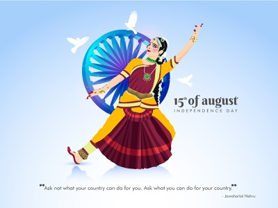 India independence day (15 august) culture india yellow red bharatnatyam celebration happy colorful dance classical flying birds ashok chakra independenceday august 15 character vector illustration design