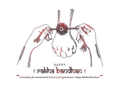Raksha Bandhan(bond of care and love) raksha bandhan bond rakhi handrawn sketching sketch abstract light care love brother sister hands august 15 happy character vector illustration design