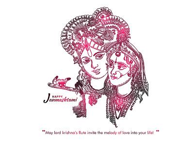 Radha Krishna wishes handrawn god lord krishna radharani abstract sketch red august happy dribble character vector illustration design
