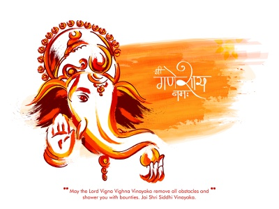 Ganesh Chaturthi (Lord Ganesha) celebration birthday siddhi vinayaka vigna harta indian festival mumbqai handrawn red abstract sketch happy dribble character vector illustration design