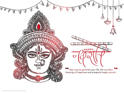 Happy Navratri indian india 9days blessings durga maa october september red handrawn abstract sketch happy dribble character vector illustration design