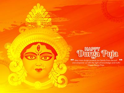 Durga Puja goddess face beautiful culture cultural indian india maa durga red handrawn abstract sketch happy dribble character vector illustration design
