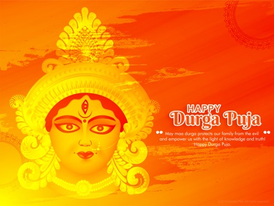 Durga Puja goddess face beautiful culture cultural indian india maa durga red handrawn abstract sketch happy dribble character vector illustration design