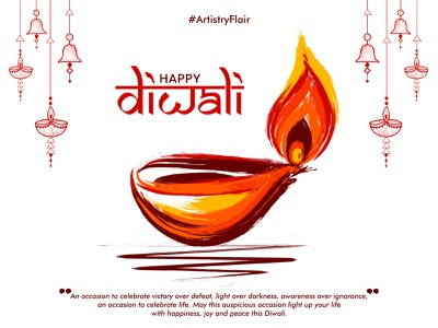 Happy Diwali colorful beautiful hangging indian festival artistry flair oil lamp diya brush religion culture lights diwali handrawn abstract sketch dribble happy vector illustration design